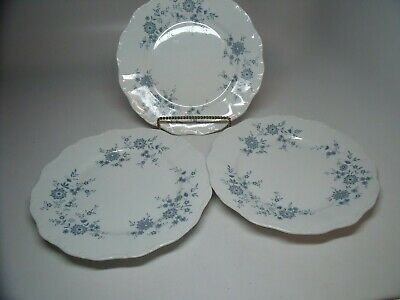 3 BAVARIAN BLUE CHRISTINA Porcelain Seltmann Weiden W. Germany Dinner Plates #3