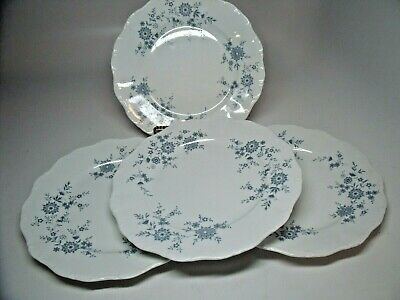 4 BAVARIAN BLUE CHRISTINA Porcelain Seltmann Weiden W. Germany Dinner Plates #2
