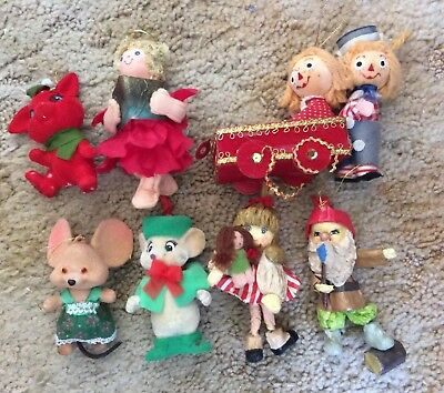 Vintage Flocked & Paper Mache Christmas Ornaments Raggedy Ann Andy Angel Mice +