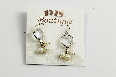 ESTATE VINTAGE JEWELRY NOS ON CARD 1928 COMPANY BOUTIQUE BEZEL CRYSTAL  EARRINGS
