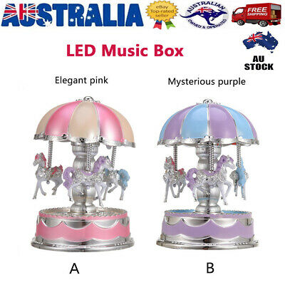 Vintage Musical Carousel Horse LED Classic Music Box Kids Children Xmas Gift AU