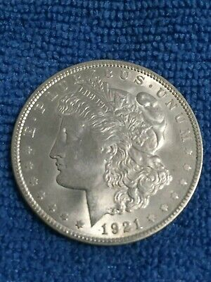 Bright White 1921-P Morgan Silver Dollar about AU/MS Details Condition
