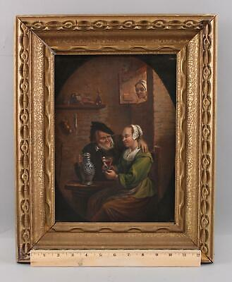 19thC Antique German Interior Genre Oil Painting, Older Man, Young Women & Wife