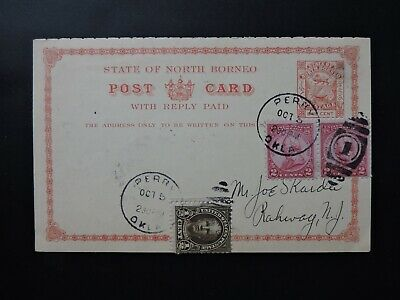 1930 PERRY OKLAHOMA AIRPORT DEDICATION on NORTH BORNEO POSTAL CARD+REPLY ! STAMP