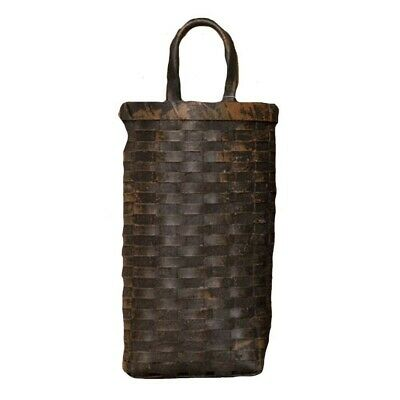 "Large Black Grungy Wall Door Basket 16"" Primitive Rustic Country Farmhouse"