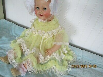1950's 3 PC YELLOW SHEER  W/ SCALLOP LACY HEM  FOR BABY/DOLL 3MTS++