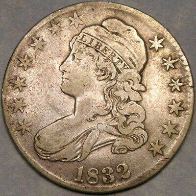 1832 Capped Bust Lettered Edge Silver Half Dollar Appealing Scarce Small Letters