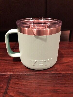 YETI Rambler 14oz Stainless Steel Vacuum Insulated Mug/Lid Aqua Read Description