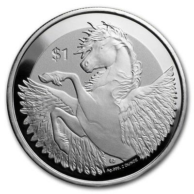 2018 ~ 2~Oz ~ Pure .999 Silver ~ Pegasus ~ Reverse Frosted Proof Coin ~ $56.88