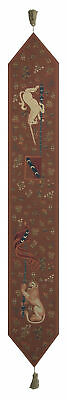Lion and Unicorn Belgian Medieval Woven Tapestry Table Runner With Tassels NEW
