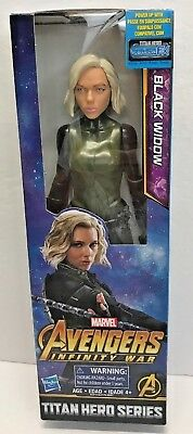 "2017 Avengers Infinity War Black Widow 12"" Figure Marvel Titan Hero Series NIB"