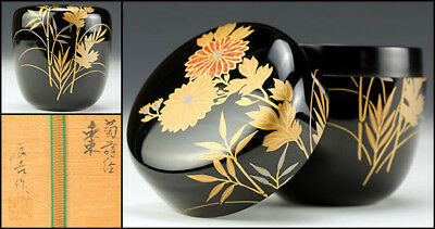 "Japan WAJIMA Lacquer Wooden Natsume ""Maki-e Chrysanthemum""  with wooden box"