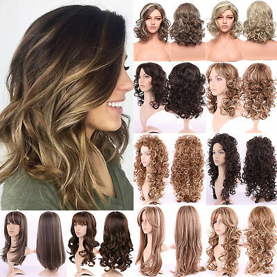 Fashion Pastel Ombre Wig Long Curly Wave Brown Blonde Black Red Synthetic Wigs