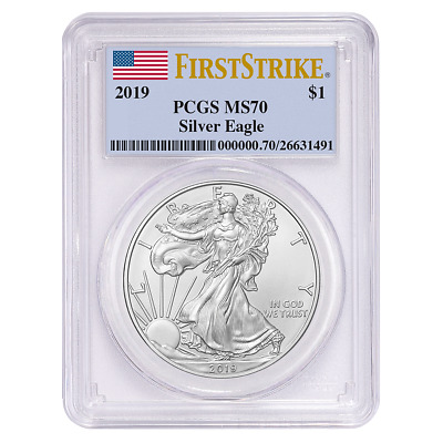 New~ 2019 ~ American Silver Eagle ~ Pcgs ~ Ms~70 ~ First Strike ~Flawless~ $9.99