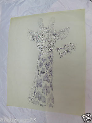 """Wood Carving Pattern 17""""X14"""" Chip Relief Burning Giraffe Head"""