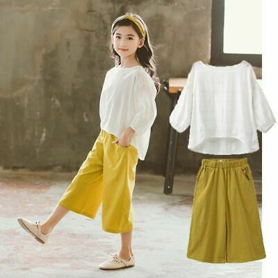 Girls Outfit Fashion Summer Cotton Casual Children Clothing Set Shirt Tops Pants