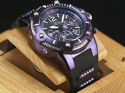 New Invicta Men's 50mm Purple Thug Mighty Bolt Quartz Chrono Poly Strap SS Watch