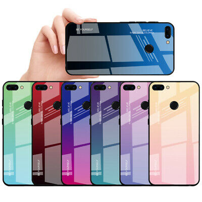 Tempered Glass Gradient Phone Case For Huawei Honor 9 10 Lite 8X MAX Back Cover