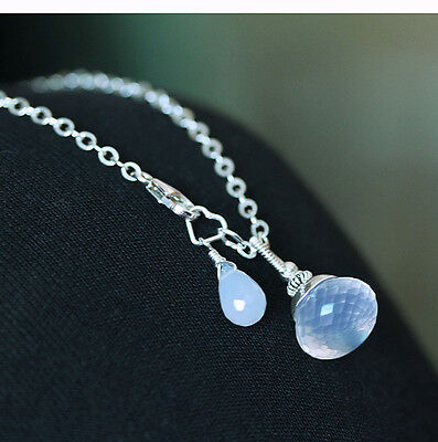 U&C Sundance Icy Opal Quartz Candy-Kiss Solitaire .925 Sterling Silver Necklace