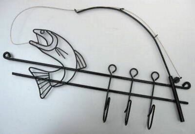 1970'S Eames style bass trout fish and hook wall coat key mug rack steel wire