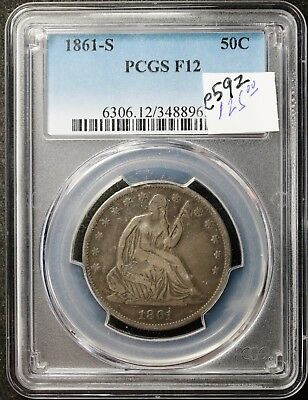 1861-s Seated Liberty Half.  In PCGS Holder.  F12.  e592