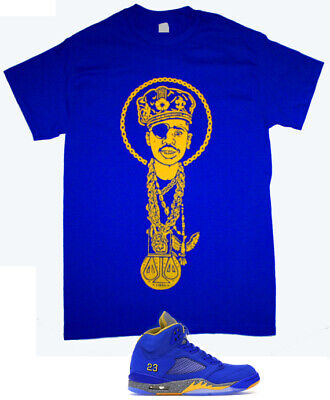 Hip Hop Royal Blue Yellow Slick Rick Heavy Chains tshirt air Jordan 5 Laney Tu