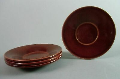 Japanese Lacquer ware Drink Coaster Vtg Shunkei nuri Wood Chataku Red 4pc LW748