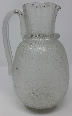 Victorian Crackle Glass Pitcher - Amazing Handle - Terrific Condition