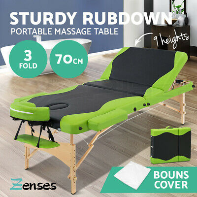 Zenses Wooden Portable Massage Table 3 Fold 70CM Beauty Therapy Bed Waxing Green