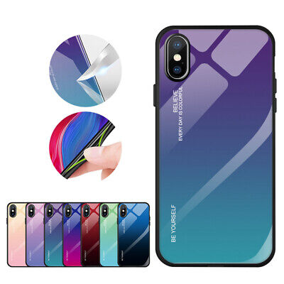 Tempered Glass Back Cover Gradient Phone Case For iPhone 6S 7 8 Plus X XS MAX XR