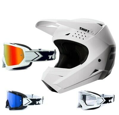 Shift Whit3 MX MTB Enduro Motocross Helm weiss TWO-X Race Crossbrille