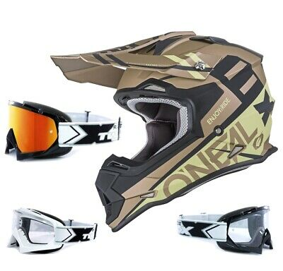 Oneal 2Series RL Crosshelm Spyde sand gold mit TWO-X Race Brille MX Motocross