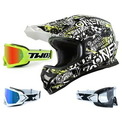 Oneal 3Series Attack Kinder Crosshelm schwarz neon mit TWO-X Race Crossbrille