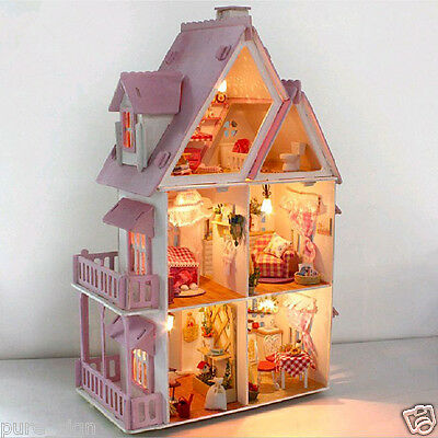Handcraft Miniature Assemble Wooden Dolls House MY PINK SMALL HOUSE Kid Gift DIY