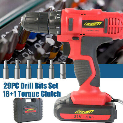 Heavy Duty 21V Lithium Ion Cordless Drill Impact Driver Screwdriver In Case