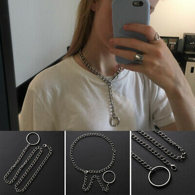 Handmade Punk Gothic Metal Chain Choker Heavy Duty Link Collar O Ring Necklace
