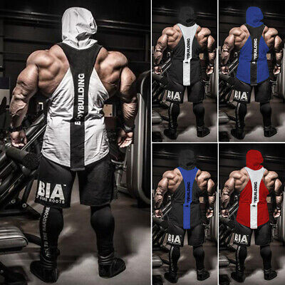 a80d0ce4a0784 US Mens Gym Clothing Bodybuilding Stringer Hoodie Tank Top Muscle hooded  Shirt