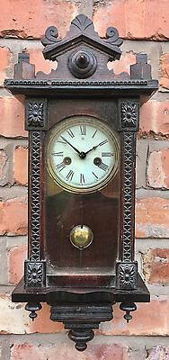 """Antique Miniature Vienna Style Wall Clock By Junghans 21.5"""" high"""