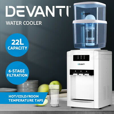 Devanti 22L Bench Top Water Cooler Dispenser Hot Cold Filter Purifier Three Taps