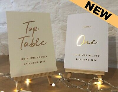 Wedding Table Numbers - Hot Foiled & Personalised