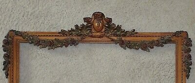 19th c. French Picture Frame Gilt Wood & Gesso Barbola Roses Victorian Antique
