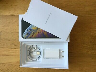 Apple iPhone Xs MAX 64gb or 256gb or 512gb charger and lighting usb Box silver