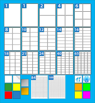 A4 Printer Labels 20 Sheets Choice of Gloss Inkjet, Coloured, Neon White Poly