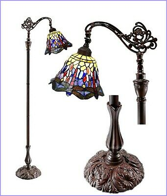 Classical Dragonfly Stained glass Tiffany Bedside Bridge Arm Floor Lamp