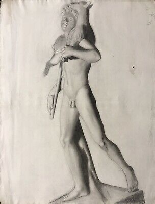 19Th Century French Realist Atelier Academie Drawing - Male Nude Shepherd Sheep