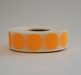 """3/4"""" Circle Neon Orange Round Inventory Warehouse Dot Label Color Code 1000/Roll"""