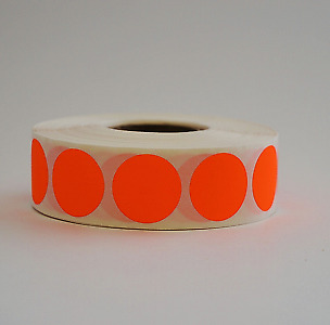 """3/4"""" Circle Neon Red Round Inventory Warehouse Dot Labels Color Code 1000/Roll"""