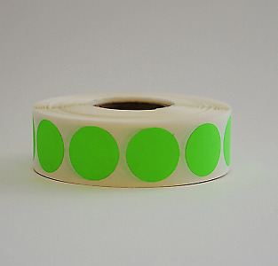 """3/4"""" Circle Neon Green Round Inventory Warehouse Dot Labels Color Code 1000/Roll"""