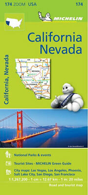 NEW California & Nevada By Michelin Road Map Folded Sheet Map Free Shipping