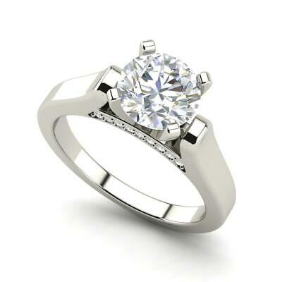 Cathedral Solitaire 1.1 Ct SI1/F Round Cut Diamond Engagement Ring White Gold